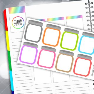 Mason Jar Full Box Planner Stickers - Pastels