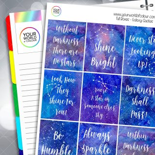 Galaxy Quotes Full Box Planner Stickers