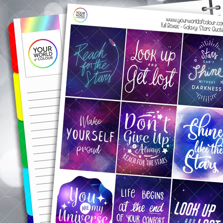 Galaxy Stars Quotes Full Box Planner Stickers
