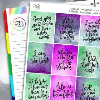 Inspirational Quotes Full Box Planner Stickers - Version Four