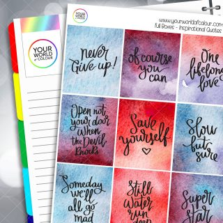 Inspirational Quotes Full Box Planner Stickers - Version Five