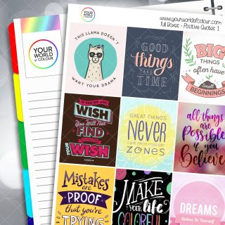 Positive Quotes Full Box Planner Stickers