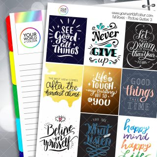 Positive Quotes Full Box Planner Stickers - Version Three