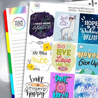 Positive Quotes Full Box Planner Stickers - Version Four