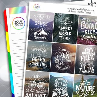 Positive Quotes Full Box Planner Stickers - Version Six