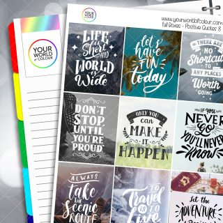Positive Quotes Full Box Planner Stickers - Version Eight