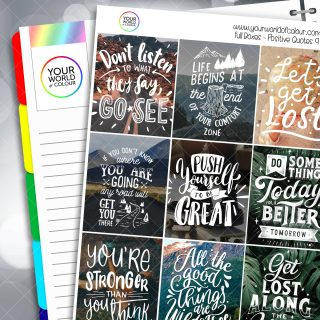 Positive Quotes Full Box Planner Stickers - Version Nine