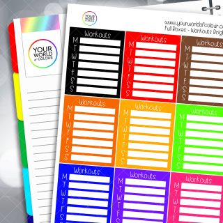 Workouts Tracker Full Box Planner Stickers - Brights