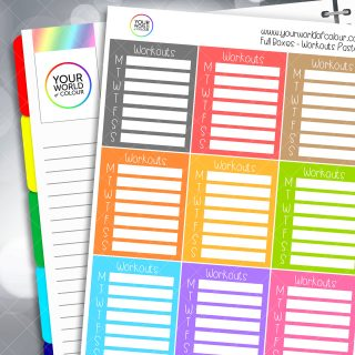 Workouts Tracker Full Box Planner Stickers - Pastels