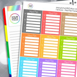 Meal Plan Tracker Full Box Planner Stickers - Pastels