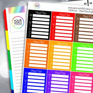 Meal Plan Tracker Full Box Planner Stickers