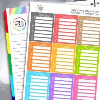 Spending Tracker Full Box Planner Stickers - Pastels