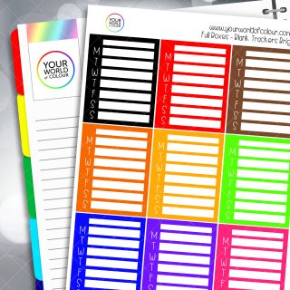 Blank Tracker Full Box Planner Stickers - Brights