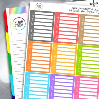 Blank Tracker Full Box Planner Stickers - Pastels