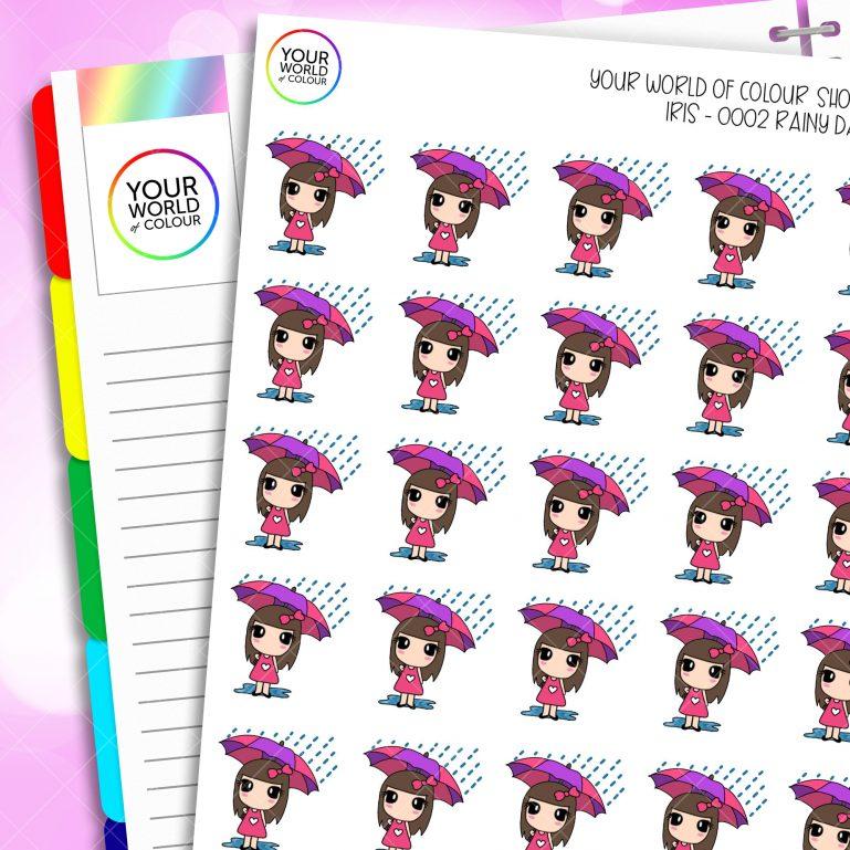 Rainy Days Iris Character Planner Stickers