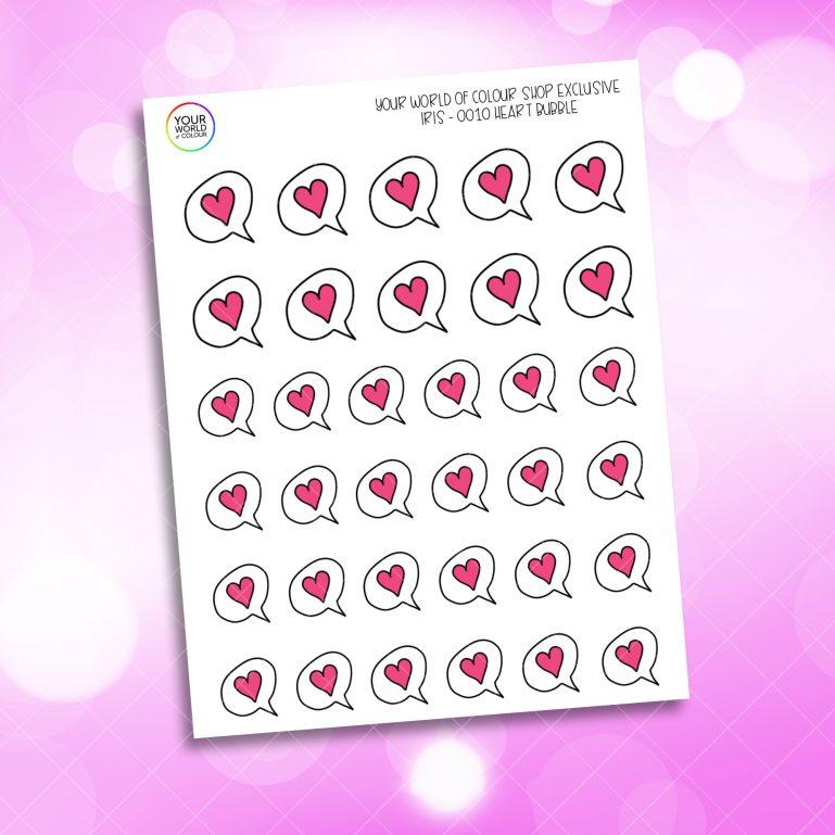Iris's Heart Speech Bubble Planner Stickers