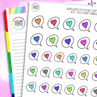Rainbow Iris's Heart Speech Bubble Planner Stickers