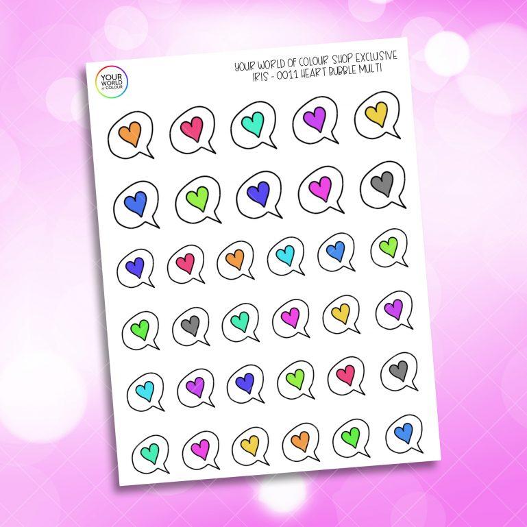 Rainbow Iris's Heart Speech Bubble Stickers