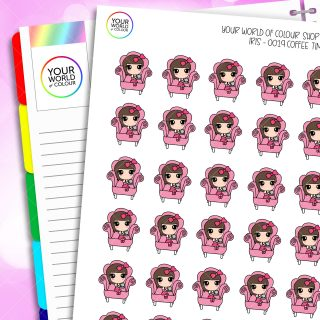 Coffee Time Character Planner Stickers