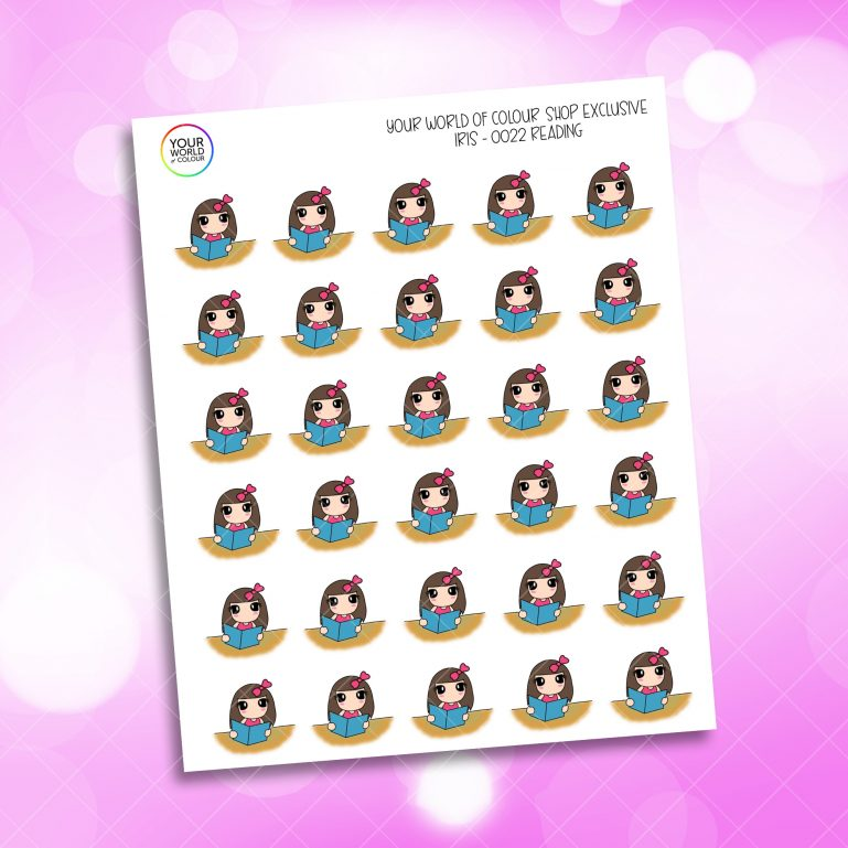 Reading Iris Character Planner Stickers