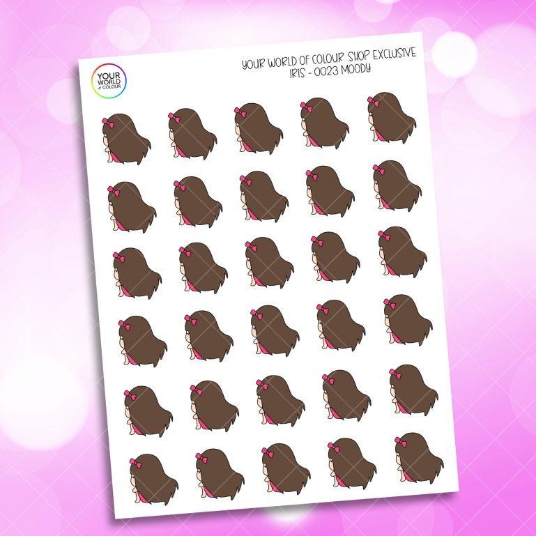 Moody Iris Character Planner Stickers