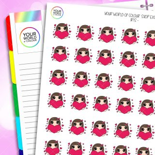 Love Hearts Iris Character Planner Stickers