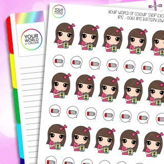 Battery Low Iris Character Planner Stickers