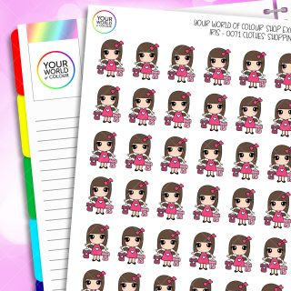 Clothes Shopping Iris Character Planner Stickers
