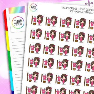 Washing Line Iris Character Planner Stickers
