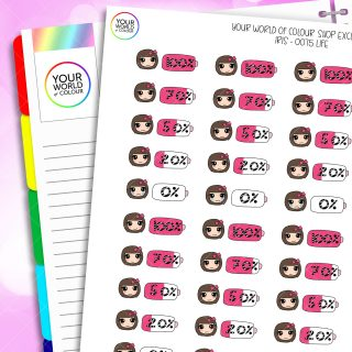 Battery Life Iris Character Planner Stickers