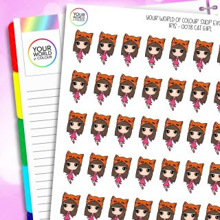 Cat Girl Iris Character Planner Stickers