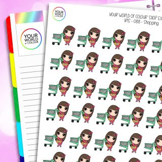 Shopping Character Planner Stickers