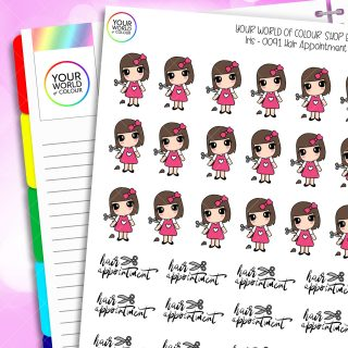 Hair Appointment Iris Character Planner Stickers