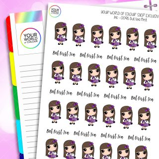 But First Tea Character Planner Stickers