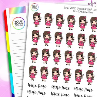 Wine Time Character Planner Stickers