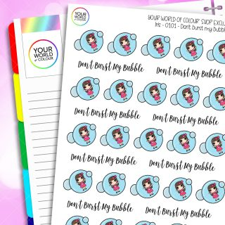 Don't Burst My Bubble Iris Character Planner Stickers