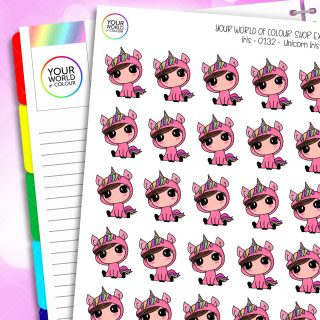 Unicorn Iris Character Planner Stickers