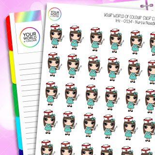 Nurse Iris Character Planner Stickers