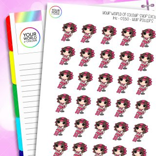 Hair Roller Iris Character Planner Stickers