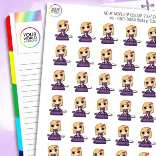 Suitcase Daisy Character Planner Stickers