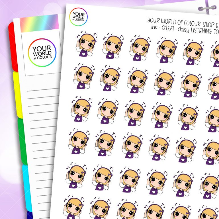 Listen To Music Daisy Character Planner Stickers