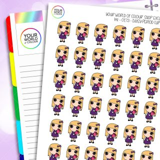 Menstrual Cup Daisy Character Planner Stickers