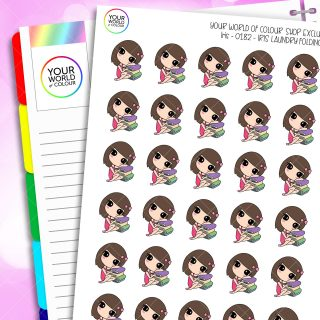 Laundry Folding Iris Character Planner Stickers