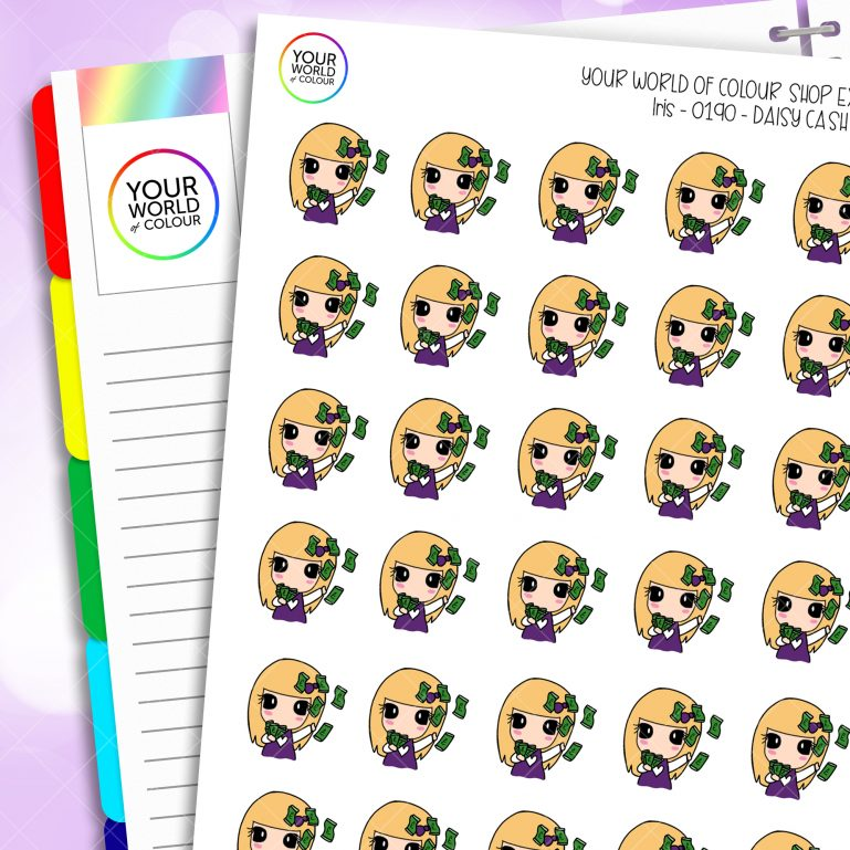 Cash Daisy Character Planner Stickers