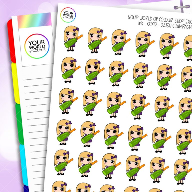 Champagne Daisy Character Planner Stickers