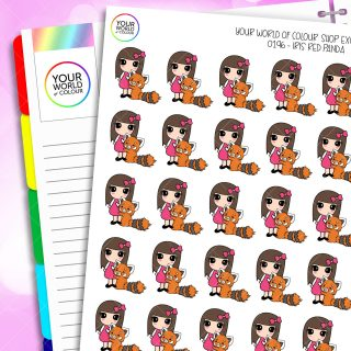 Red Panda Iris Character Planner Stickers