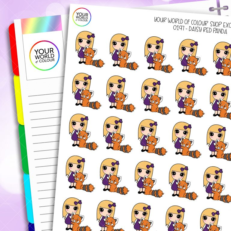 Red Panda Daisy Character Planner Stickers