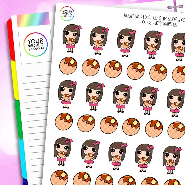 Waffles Iris Character Planner Stickers