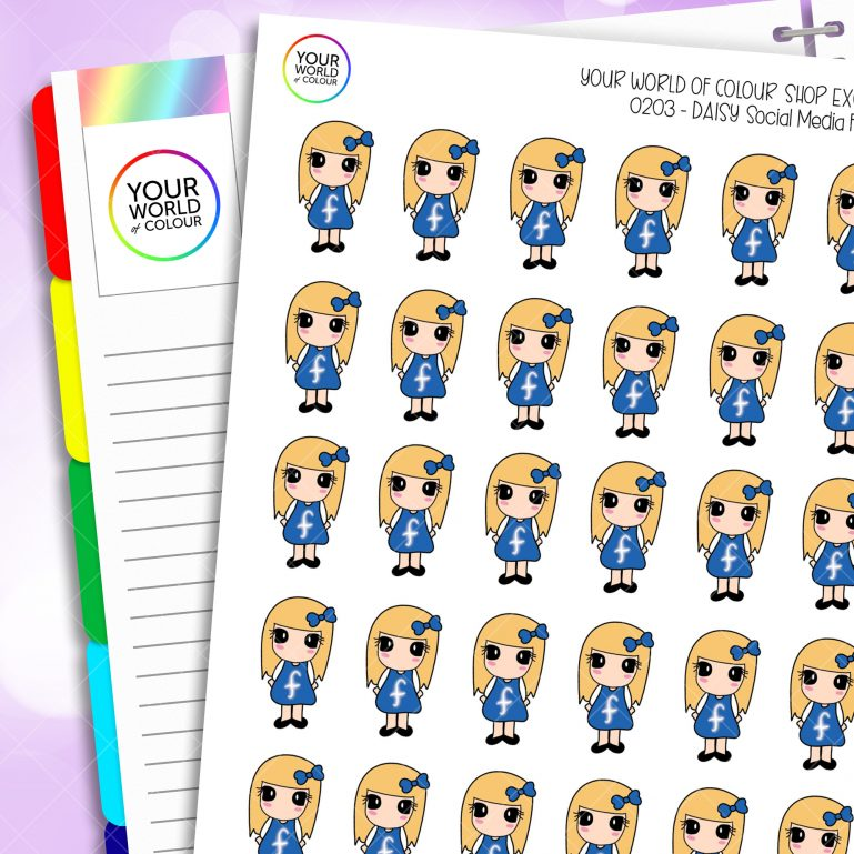 Social Media Daisy Character Planner Stickers