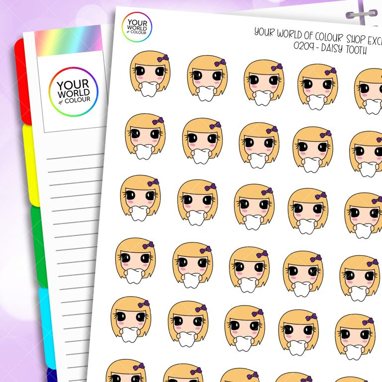 Tooth Daisy Character Planner Stickers